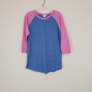 Lularoe Randy Blue Pink Baseball T Shirt Solid
